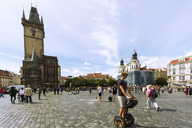 Riding a Segway is something Americans love to do while sightseeing in Prague