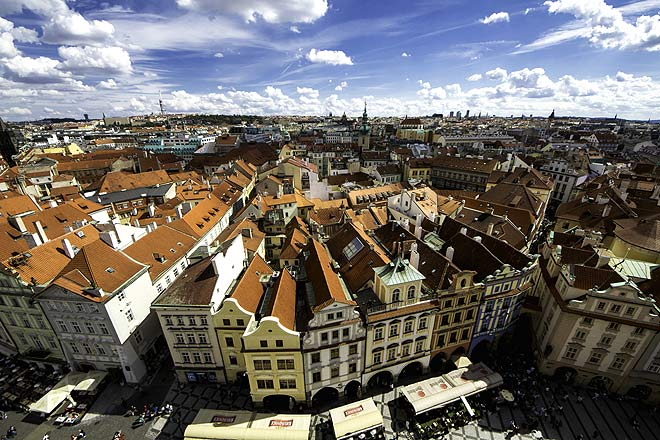 An aerial view of Prague rooftops