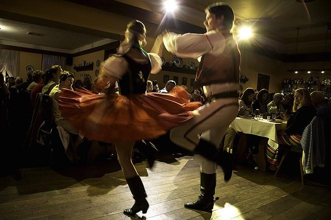 Dancers at a traditional Czech restaurant