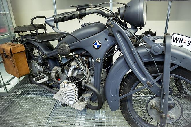A 1939 model BMW bike at the Public Transport Museum in Prague