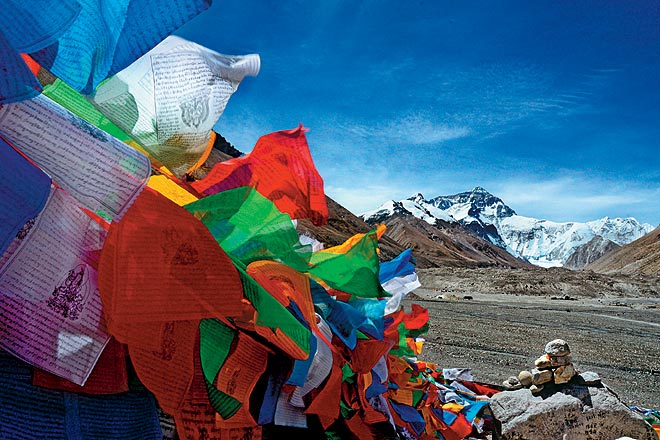 Prayer flags at Everest Base Camp against the backdrop of the north face of Everest