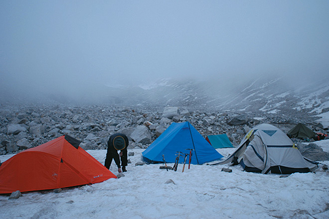 Our first camp on snow