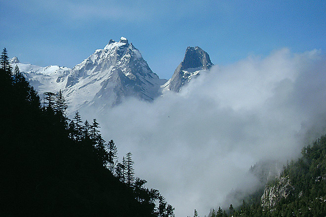 The challenging Sir Kaanta peak seen from camp