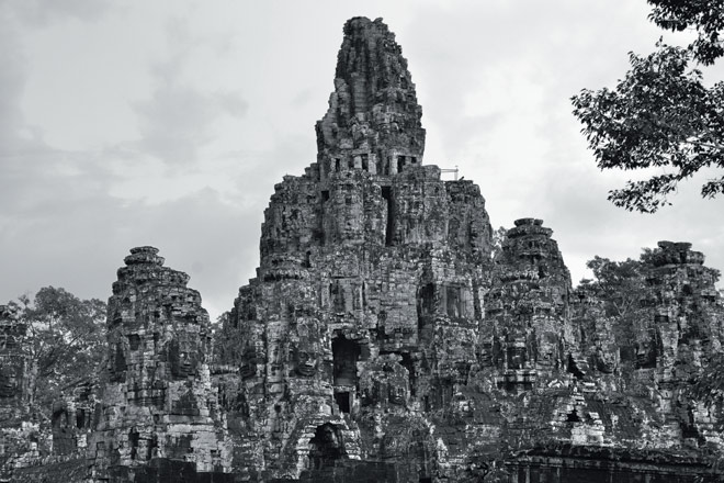 The Bayon: A view of the entire temple with its multiple levels and many visages