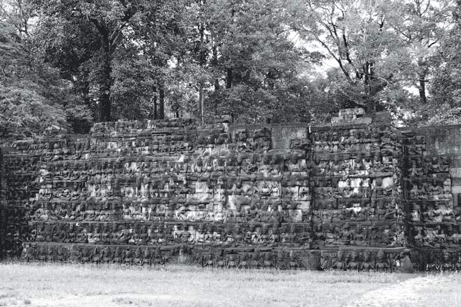 Inside Angkor Thom: The Terrace of the Leper King sporting some rather elaborate reliefs
