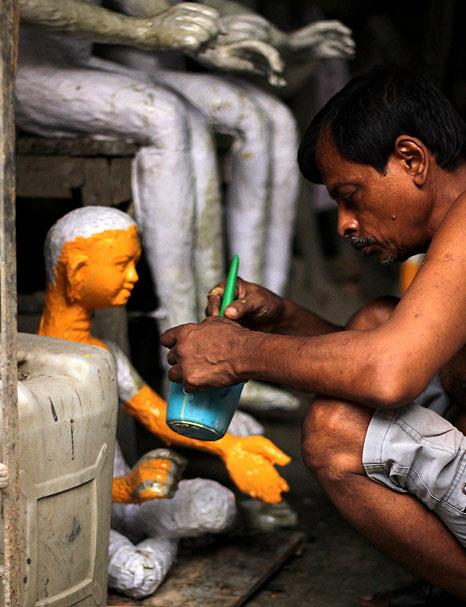 Along with idols of Durga, artists create various other clay works used in decorating pandals all over Kolkata.