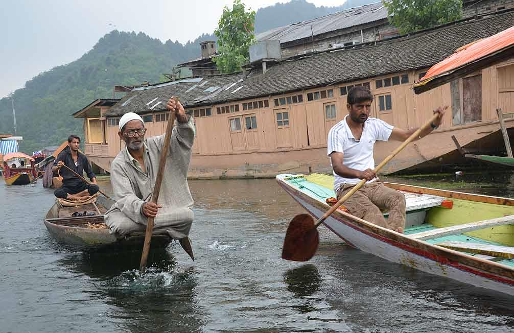 Boatmen out on their daily business
