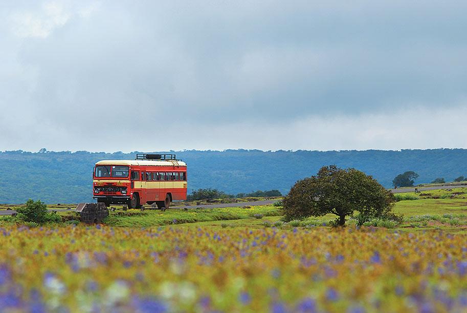 A Maharashtra State Transport bus trundles through the plateau