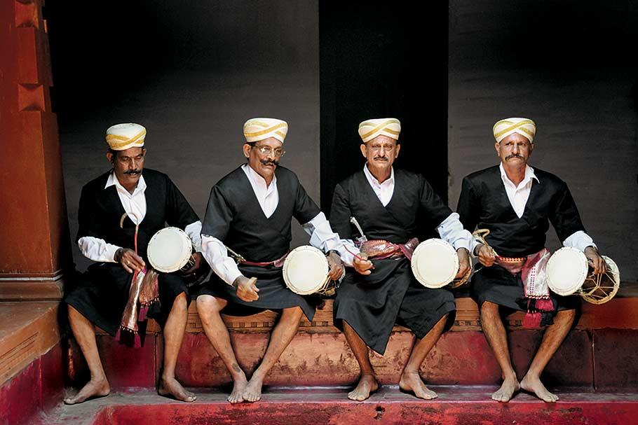 Four dudipatkaras (bards) sing the history of the clans. Kodagu's rich oral tradition was used to hand down the history, culture and social practices of the people. From the book The Vanishing Kodavas (Eminence Designs, Rs 7,500). Text by Kaveri Ponnapa, photographs by Sudeep Gurtu.