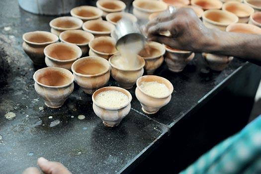 Roadside tea in Kolkata served in kullads, the unglazed terracotta cups that can be thrown away after use. Clay handicrafts are a part of local culture. (From the book Chai: The Experience of Indian Tea, by Rekha Sarin and Rajan Kapoor; Published by Niyogi Books; Price Rs 1,995)