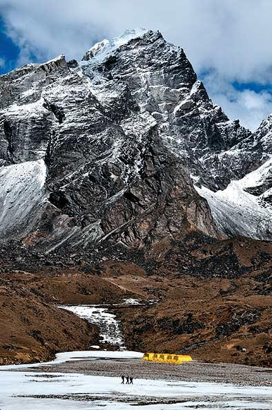 The trail from Gorak Shep to Dzongla passes the Base Camp of Lobuche, one of the popular trekking peaks in the  Everest Region