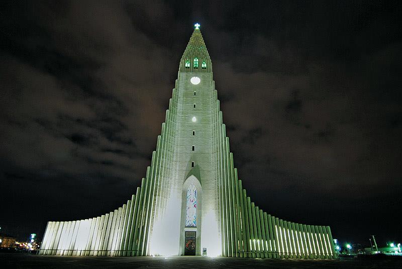 The design of Hallgrimskirkja, Iceland's largest church, is inspired by basalt column stacks