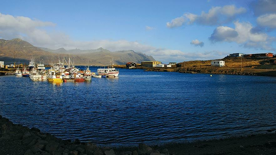 The harbour of Djupivogur which has buildings dating back to the 18th and 19th centuries