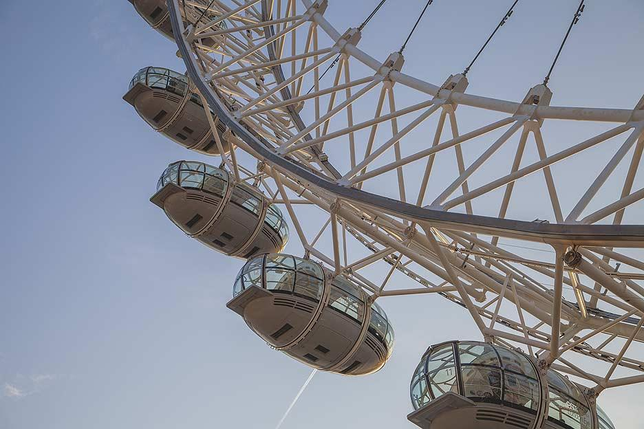 The viewing pods of the London Eye.