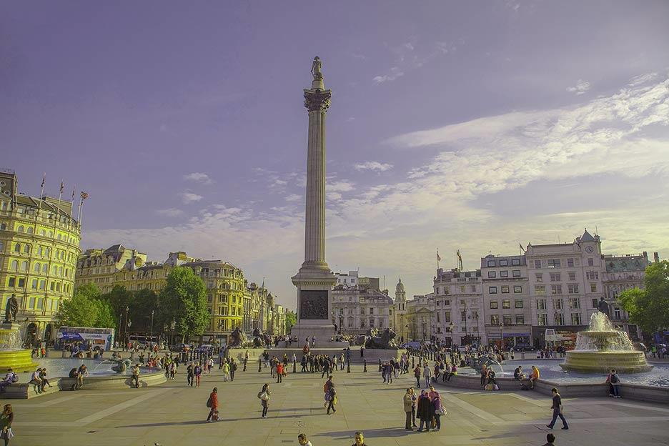 Trafalgar Square, the iconic area in front of the National Gallery, is a hop, skip and jump from the Charing Cross tube station. The column facing the National Gallery building is Nelson's Column, named after Admiral Horatio Nelson, who died in the Battle of Trafalgar in 1805.
