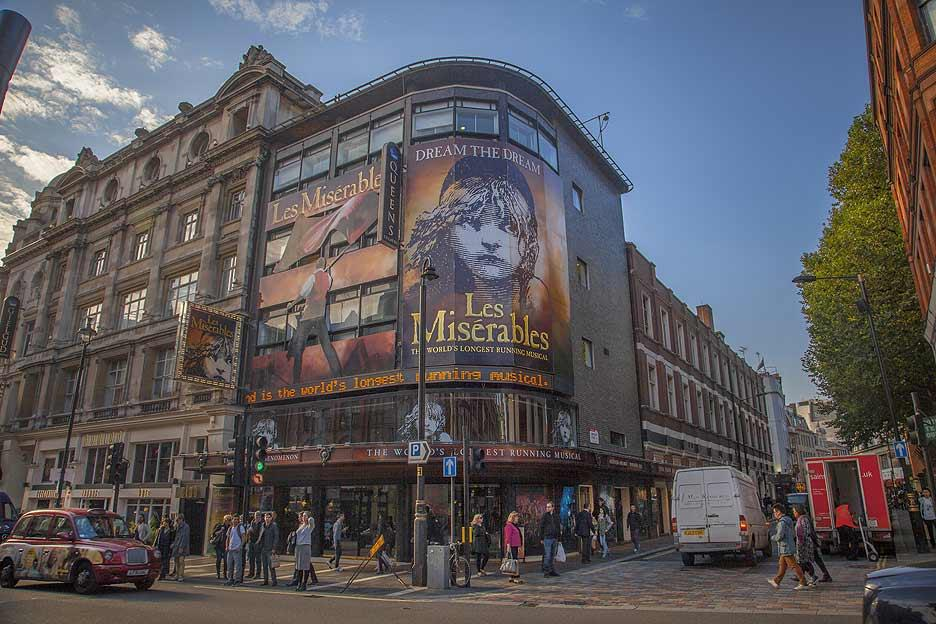 The very popular show Les Miserables, running at the Queen's Theatre on West End. The building is on Shaftesbury Avenue, the favourite London hangout of theatre-lovers. Shaftesbury Avenue is at the heart of London's West End theatre district and marks the beginning of Chinatown.