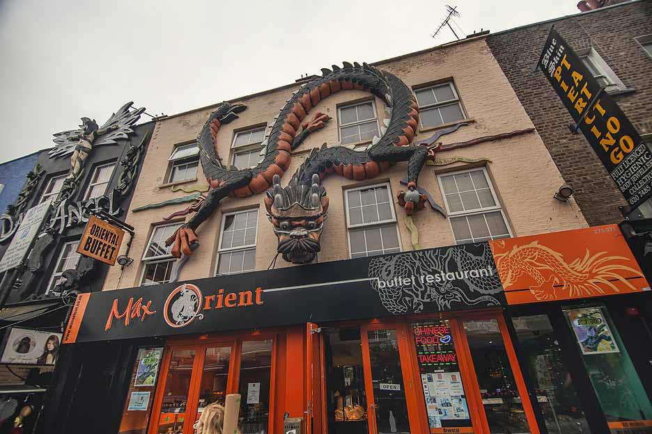 An eye-catching restaurant facade in Camden Town, which has London's most popular open-air market area with stalls, shops, pubs and restaurants.