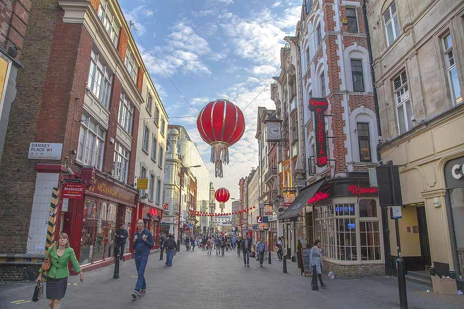 Chinatown, the neighbourhood containing a number of Chinese restaurants, supermarkets and other Chinese-run businesses, is a part of the Soho area of London.