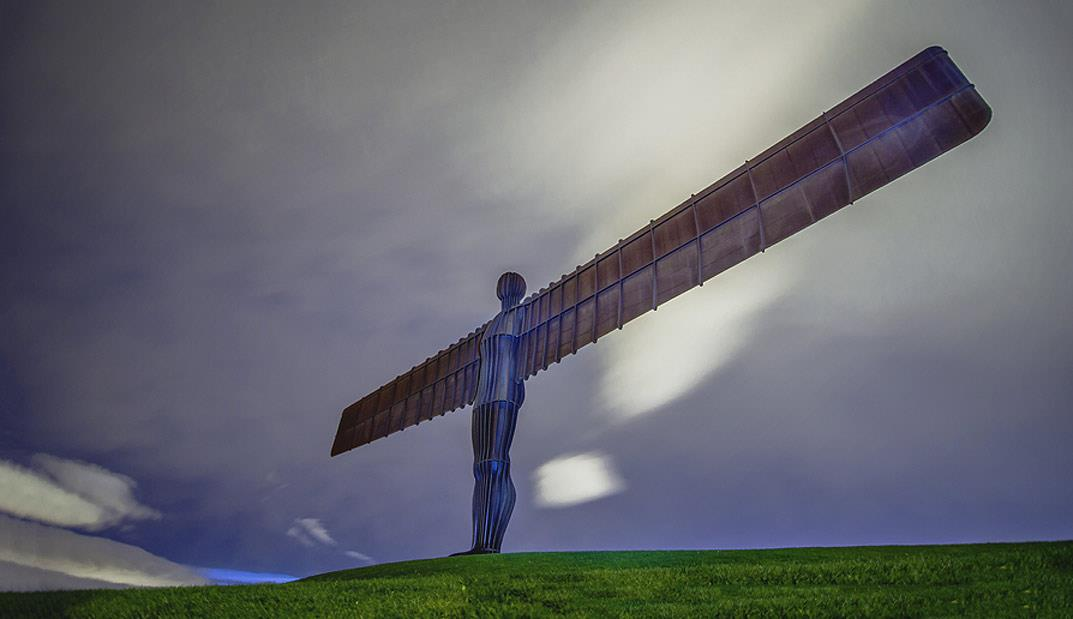 The Angel of the North is a sculpture by Antony Gormley, located in Gateshead, Tyne and Wear. The sculptor meant it to have a three-fold significance: first, to signify that beneath the site, coal miners worked for two centuries; second, the transition from an industrial to information age; and third, to embody hopes and fears.