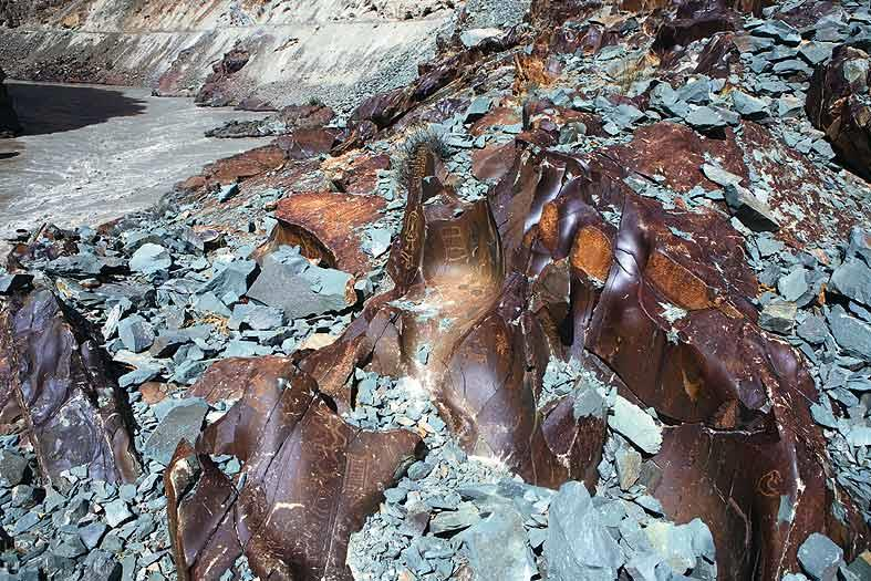 A petroglyph site along the Zanskar river that has been almost completely ruined by the increasing demand for stones.