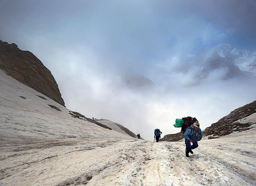 Sundar, our guide, leads the lung-busting climb up the flank of the Parvati icefall. Its treacherous terrain was made doubly dangerous and thrilling by bad weather.