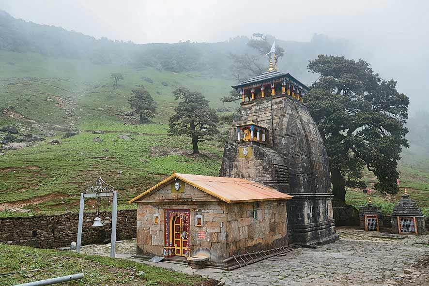 The Madhmaheshwar Temple. Also called Madhyamaheshwar, this is one of the most atmospheric and remote of the Siva temples of Garhwal.