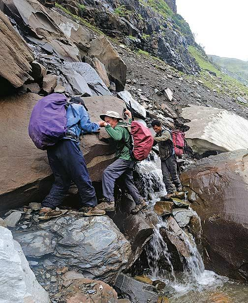 Days 9-10: A score of stream-crossings and waterfall-negotiatings are some of the lesser adventures at the fag end of the trek to Rajgundha. In a 'normal' season, trekkers can jump over the streams and walk across waterfalls. But the route was so abused by the thousands of Gaddis' sheep this season that we were happy merely to find level ground at Billing, not to mention friendly villagers who were kind enough to make us dinner.