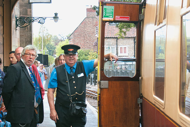 A ticket collector at Pickering