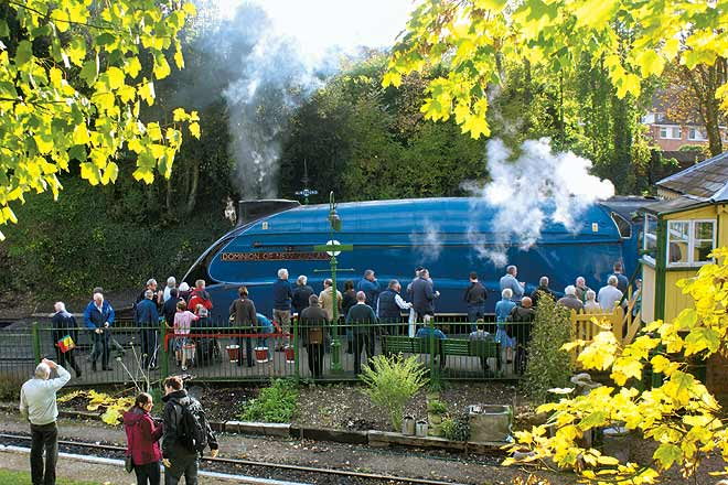 A steam engine draws admiring onlookers at Hampshire