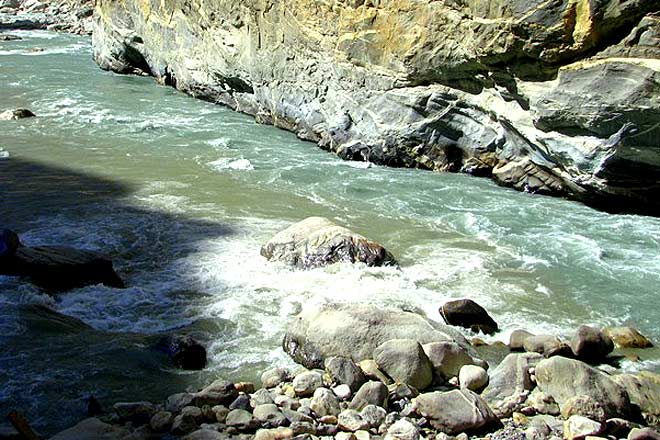 Confluence of muddied torrents of Satluj and silent streams of Spiti