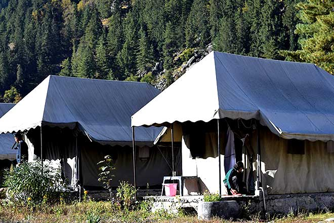 Canvas tents of Kailash View Camp at Rakchham