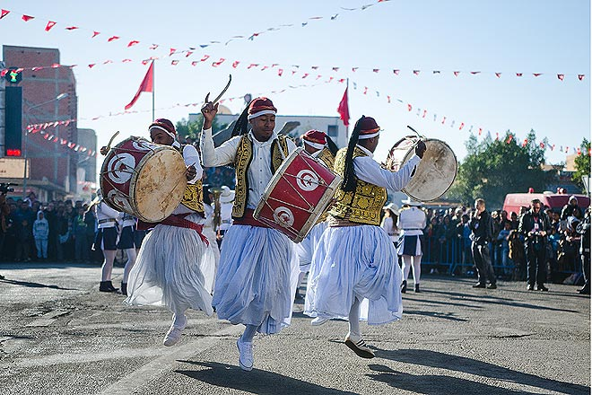 A Tunisian group performs at the city center during the opening ceremony