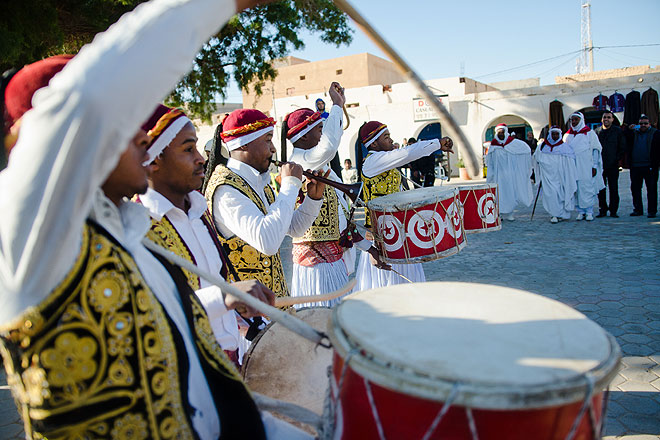 Every morning, bedouin groups gathered in the main square to play traditional music