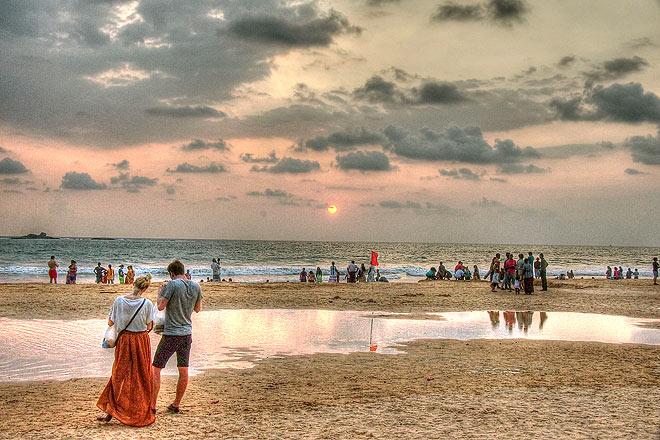 Spectacular sunset at Bentota Beach