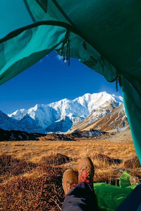 The northeast face of Kanchenjunga dominates the view from the Green Lake camp
