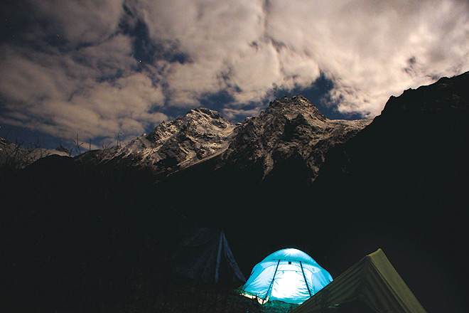 The camp at Yabuk, with nearby peaks illuminated by the rising moon
