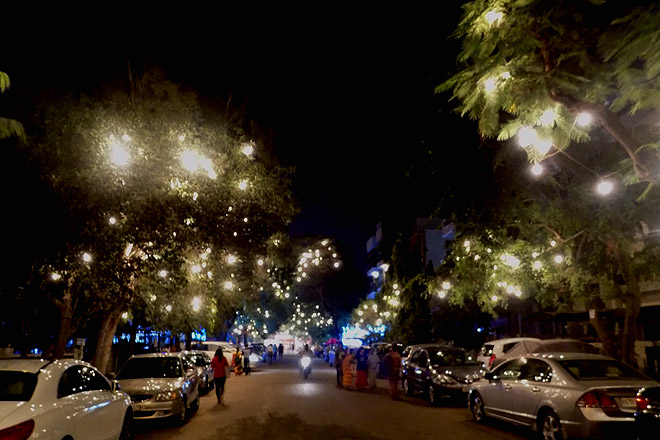 Streets of CR Park locality all lit-up during Durga Puja