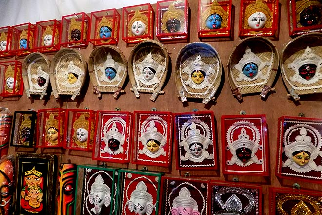 Pick your own God--souvenirs at a stall outside Kalibari in C.R Park