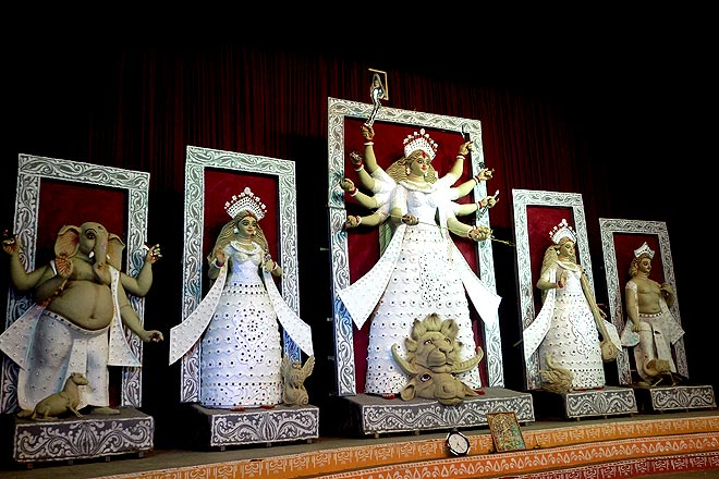 The stunning idols at the Mela Ground pandal in C.R Park