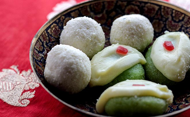 While hopping pandals, don--t forget to taste the famous Bengali sweet dish -- Sandesh which is made of chenna or paneer