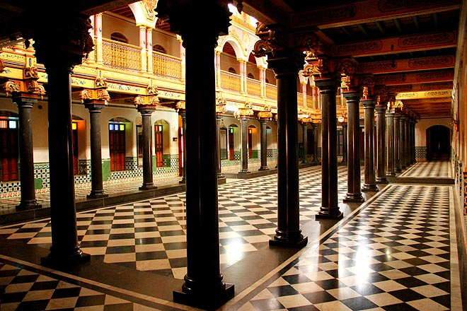 The inner hall of the Chettinad Palace