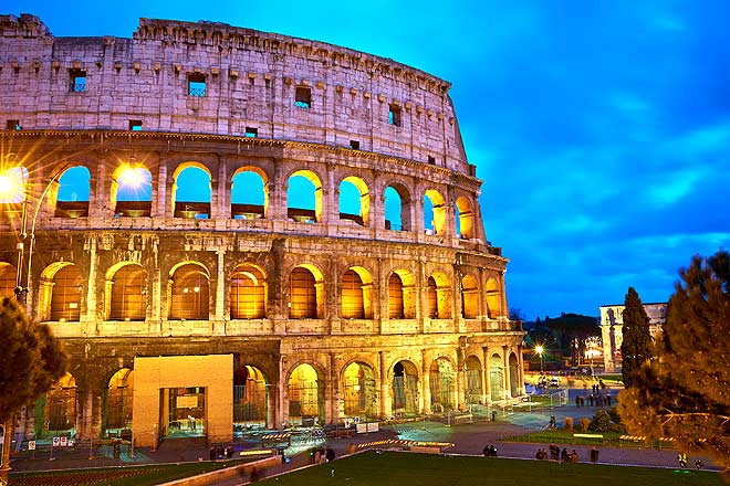 The Colosseum all lit up