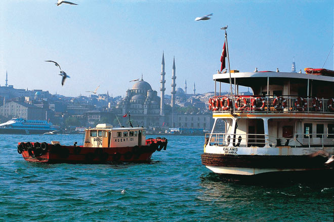 The Bosphorus with the Blue Mosque in the background