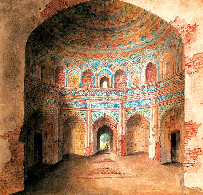 Interior of Afzal Khan--s tomb at Agra, covered in painted stucco work