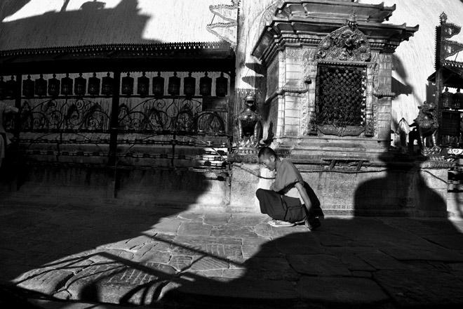 Circling the stupa at Swayambhunath
