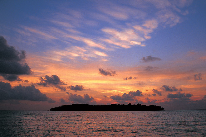 A spectacular sunset scene in the Andamans