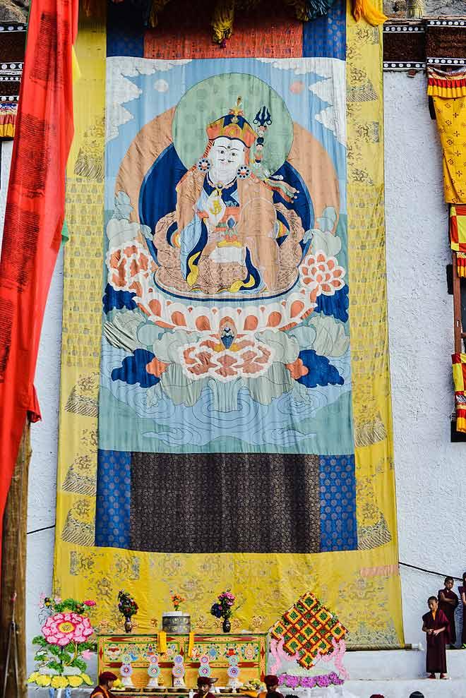 The 350-year-old silk thangka of Guru Padmasambhava is unfurled at the Hemis Monastery