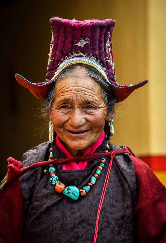 An old lady from Hemis village comes to pay her respects to Guru Padmasambhava