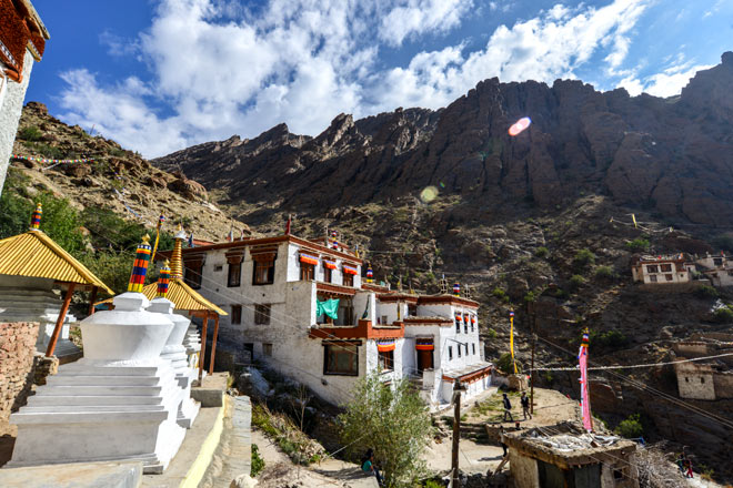 The cave hermitage of Kotsang, deep in the mountains behind Hemis, where locals go for a pilgrimmage kora in the morning of the festival