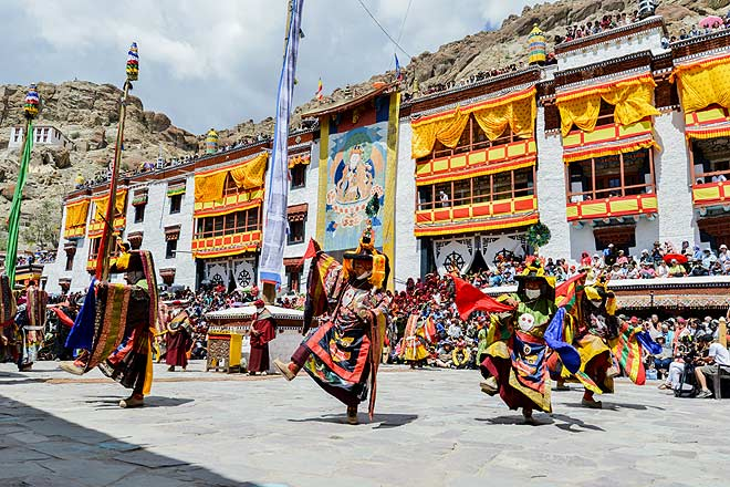 Considered to be the personification of 'krodha' or angry deities, the performers dance around the main flagstaff